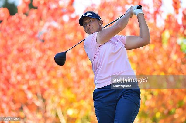 Angela Stanford of the USA hits her tee shot on the 2nd hole during the first round of the TOTO Japan Classics 2015 at the Kintetsu Kashikojima...