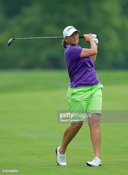 Angela Stanford of the USA in action during the proam as a preview for the 2015 KPMG Women's PGA Championship on the West Course at Westchester...