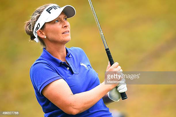 Angela Stanford of the USA looks on during the third round of the TOTO Japan Classics 2015 at the Kintetsu Kashikojima Country Club on November 8...
