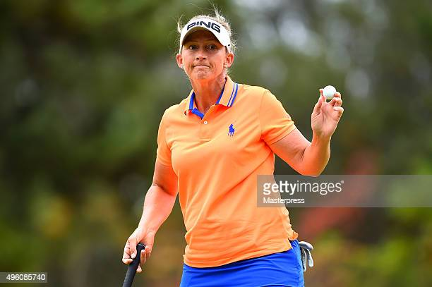 Angela Stanford of the USA reacts after making her birdie putt during the second round of the TOTO Japan Classics 2015 at the Kintetsu Kashikojima...