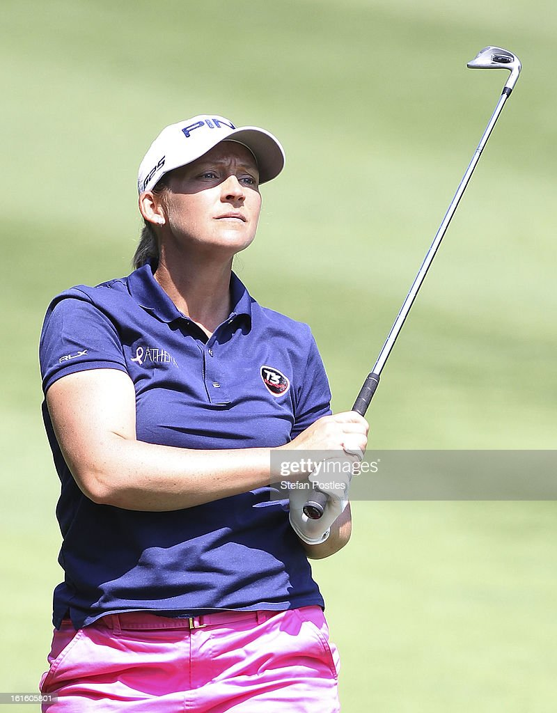 Angela Stanford of USA during practice ahead of the ISPS Handa Australian Open at Royal Canberra Golf Club on February 13, 2013 in Canberra, Australia.