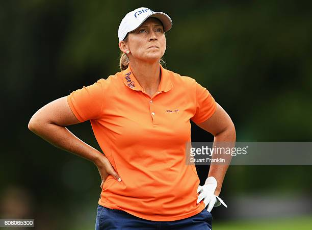 Angela Stanford of USA ponders a shot during the second round of The Evian Championship on September 16 2016 in EvianlesBains France