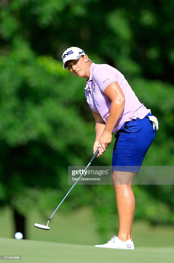 Angela Stanford plays a shot during the second round of the Walmart NW Arkansas Championship Presented by P&G at the Pinnacle Hills Country Club on June 22, 2013 in Rogers, Arkansas.