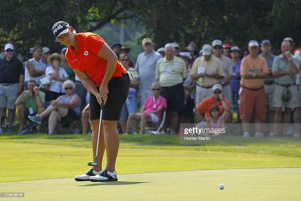 Angela Stanford putts for birdie on the ninth hole during round two of the Marathon Classic presented by Owens Corning & O-I on July 19, 2013 in Sylvania, Ohio.