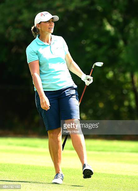 Angela Stanford reacts to her third shot on the sixth hole during the second round of the Canadian Pacific Women's Open at the Vancouver Golf Club on...