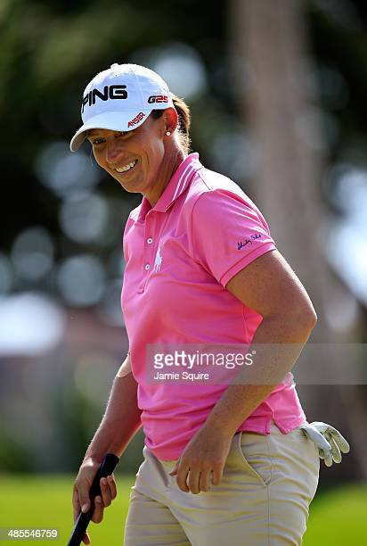 Angela Stanford smiles after making a putt on the 15th hole during the third round of the LPGA LOTTE Championship Presented by J Golf on April 18...