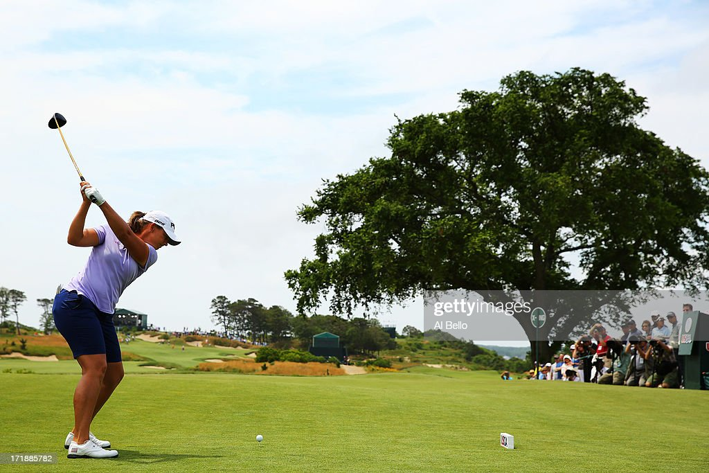 Angela Stanford tees off on the first tee during the third round of the 2013 U.S. Women's Open at Sebonack Golf Club on June 29, 2013 in Southampton, New York.