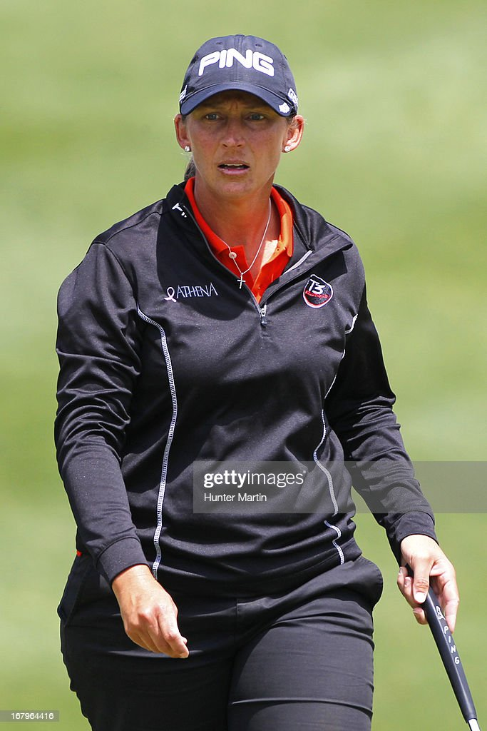 Angela Stanford walks to her ball on the ninth green during the second round of the Kingsmill Championship at Kingsmill Resort on May 3, 2013 in Williamsburg, Virginia.