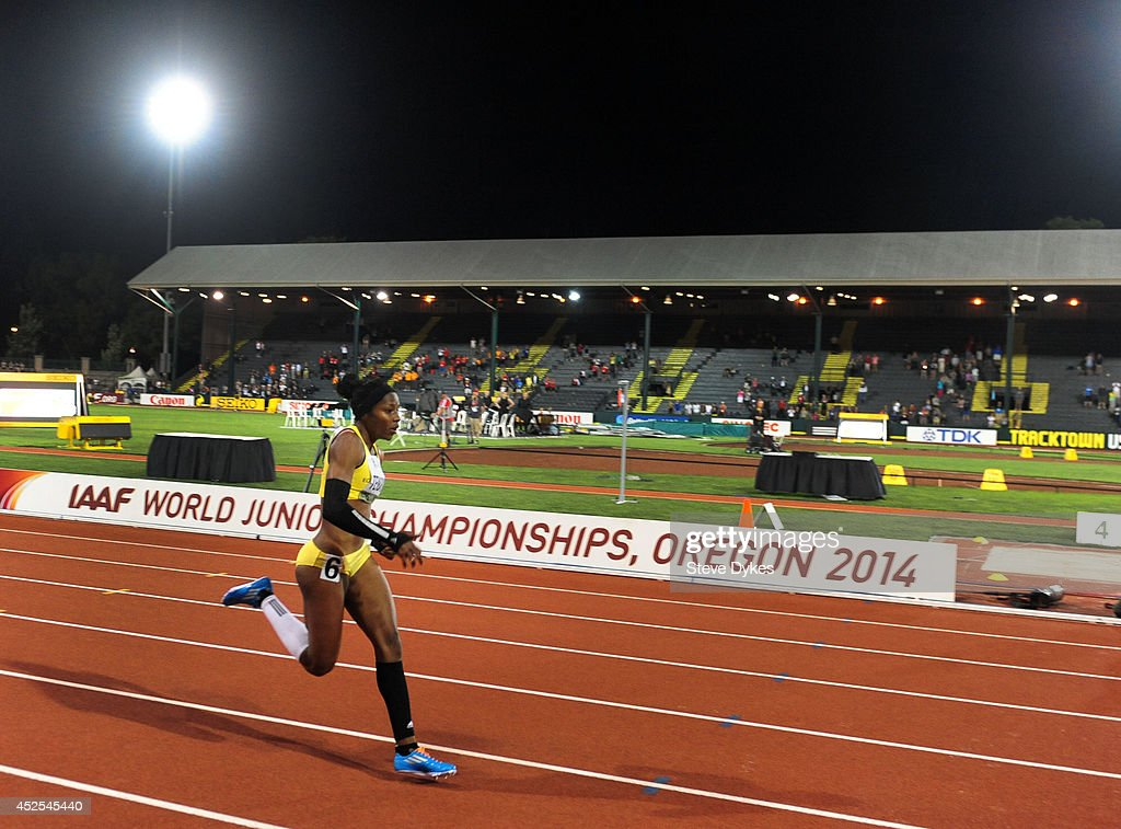 Angela Tenorio of Ecuador runs an individual rerun of a preliminary heat of the women's 100m during day one of the IAAF World Junior Championships at...