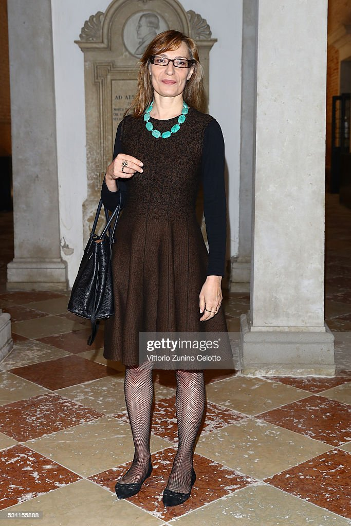 Angela Vettese attends the private view and lunch of 'Belligerent Eyes' at Fondazione Prada at Ca' Corner della Regina on May 25, 2016 in Venice, Italy.