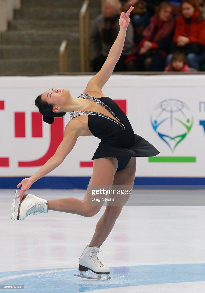 Angela Wang of USA skates in the Ladies Short Programm Program during ISU Rostelecom Cup of Figure Skating 2014 on November 14 2014 in Moscow Russia