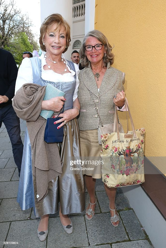 Angela Wepper, mother of Sophie Wepper and Ursula Schindler, mother of David Meister during the wedding of Sophie Wepper and David Meister outside the registry office at Mandlstrasse on May 4, 2016 in Munich, Germany.