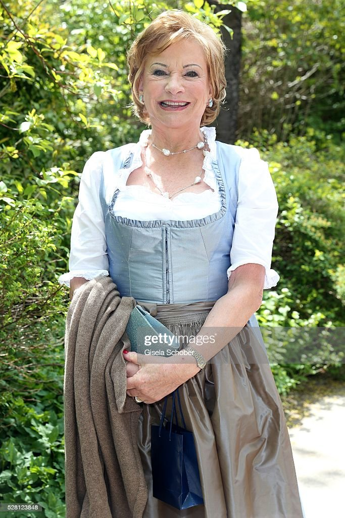 Angela Wepper, mother of Sophie Wepper, during the wedding of Sophie Wepper and David Meister at 'Seehaus' on May 4, 2016 in Munich, Germany.