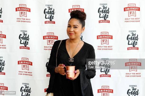 Angela Yee enjoys a SMIRNOFF Original Moscow Mule cocktail at the SMIRNOFF Good Life Day Party at Eiffel Society on July 1 2017 in New Orleans...