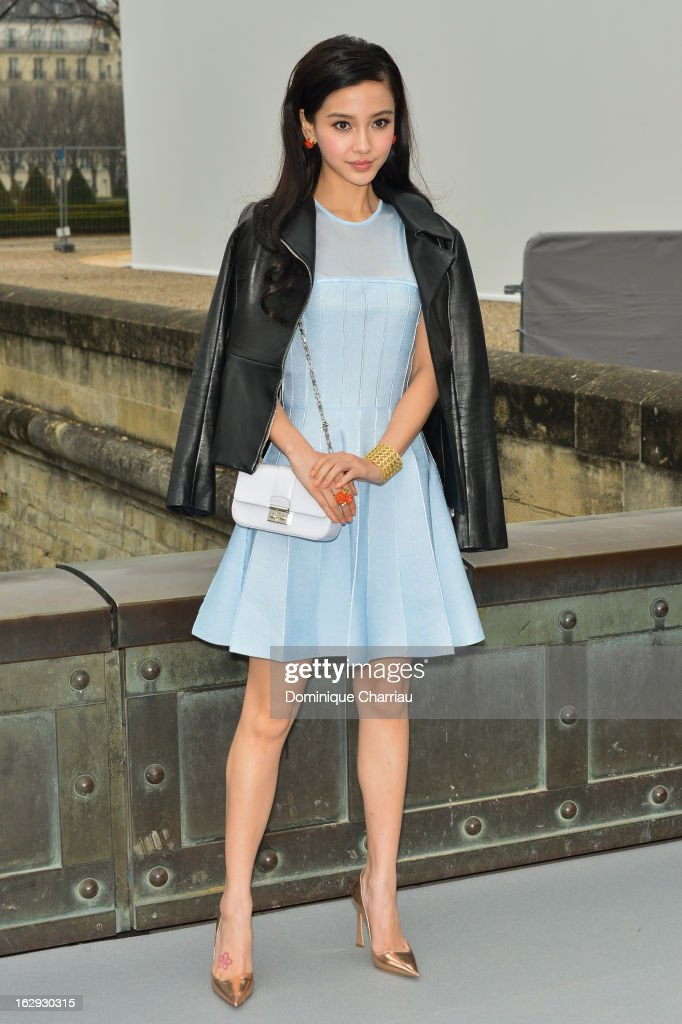 Angela Yeung Wing, known as Angelababy arrives at the Christian Dior Fall/Winter 2013 Ready-to-Wear show as part of Paris Fashion Week on March 1, 2013 in Paris, France.