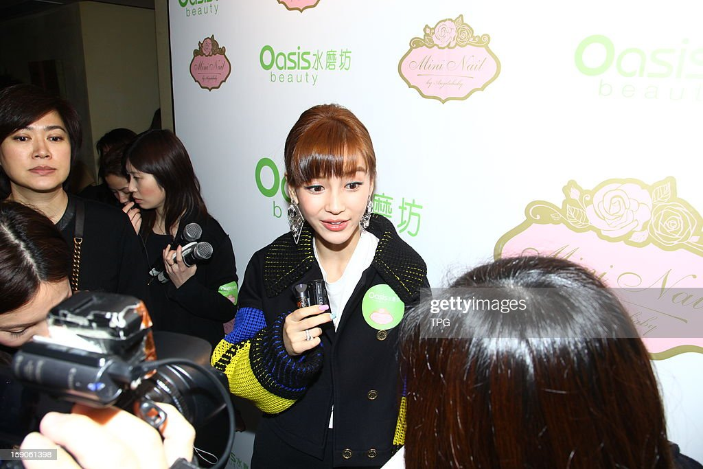 Angelababay attend Oasis Beauty Mini nail opening ceremony on Monday,January 07,2013 in Hong Kong, China.
