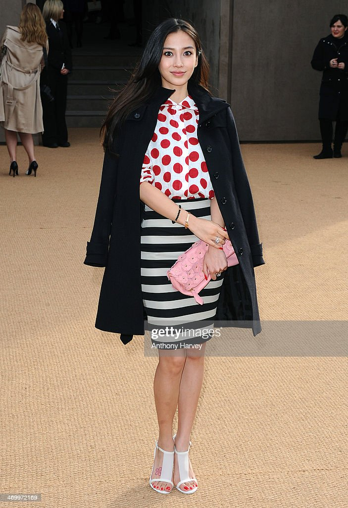 Angelababy attends the Burberry Prorsum show at London Fashion Week AW14 at Kensington Gardens on February 17, 2014 in London, England.