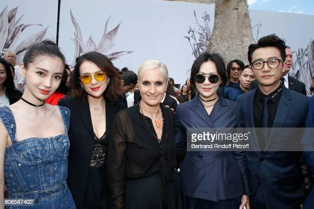 Angelababy Zhang Ziyi Stylist Maria Grazia Chiuri Carina Lau and Huang Xua pose backstage after the Christian Dior Haute Couture Fall/Winter 20172018...