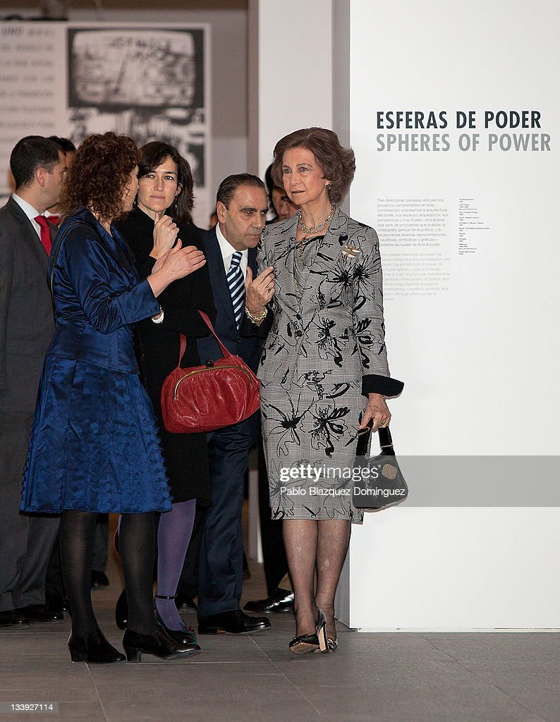 Angeles Gonzalez Sinde and Queen Sofia of Spain attends 'Muntadas Entre / Between' exhibition at Reina Sofia Museum on November 22 2011 in Madrid...