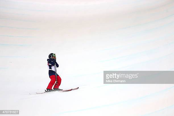 Angeli Vanlaanen of the United States reacts after crashing in the Freestyle Skiing Ladies' Ski Halfpipe Finals on day thirteen of the 2014 Winter...