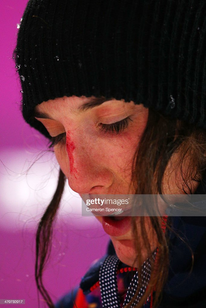 <a gi-track='captionPersonalityLinkClicked' href=/galleries/search?phrase=Angeli+Vanlaanen&family=editorial&specificpeople=5691215 ng-click='$event.stopPropagation()'>Angeli Vanlaanen</a> of the United States reacts after cutting her nose from a crash in the Freestyle Skiing Ladies' Ski Halfpipe Finals on day thirteen of the 2014 Winter Olympics at Rosa Khutor Extreme Park on February 20, 2014 in Sochi, Russia.