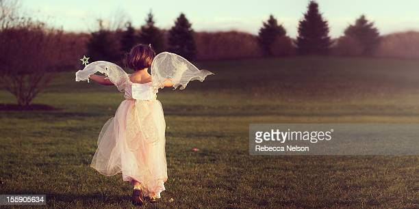 Angelic Fairy Running at Sunset