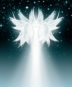 Digital illustration of an Multi Winged angel in the night sky full of stars.