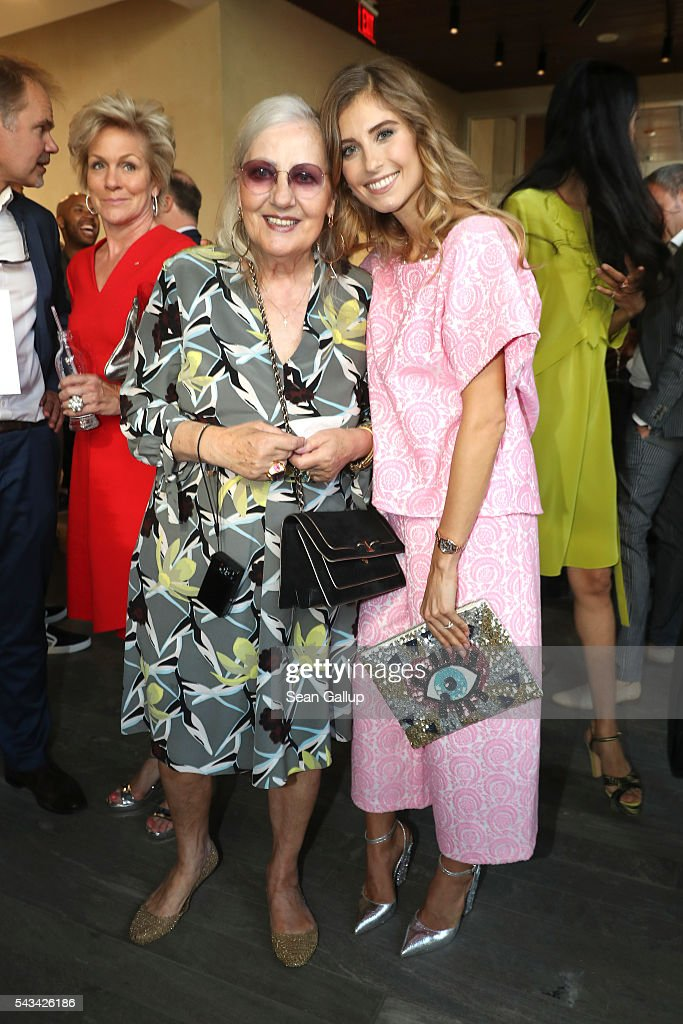 Angelica Blechschmidt and <a gi-track='captionPersonalityLinkClicked' href=/galleries/search?phrase=Cathy+Hummels&family=editorial&specificpeople=8685062 ng-click='$event.stopPropagation()'>Cathy Hummels</a> at the Sustainability & Style event at the Embassy of The United States of America on June 28, 2016 in Berlin, Germany.
