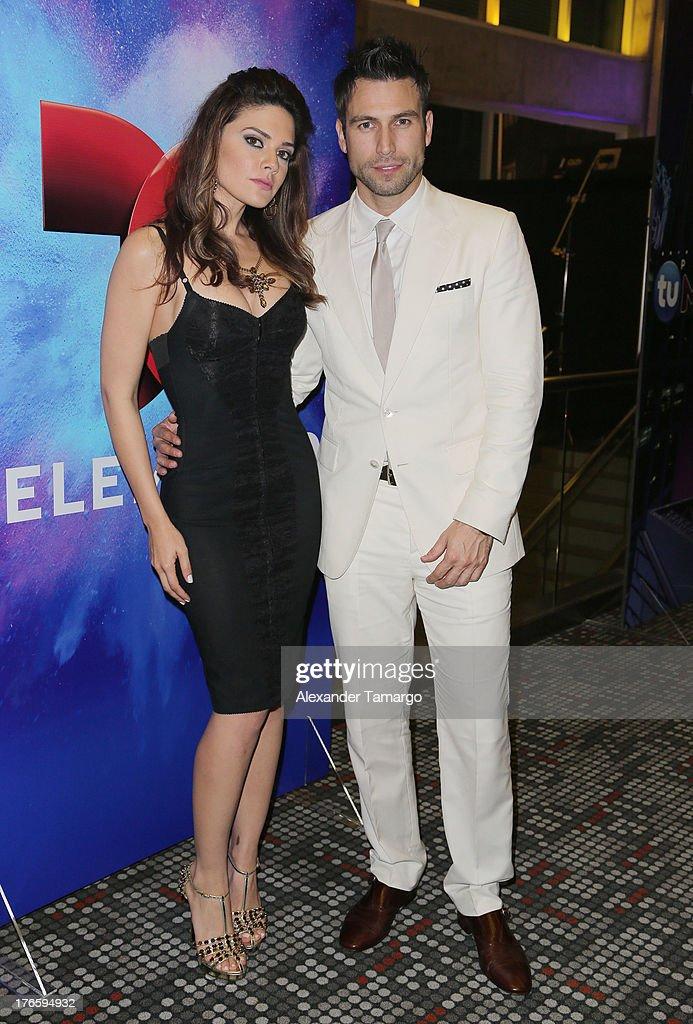 Angelica Celaya and Rafael Amaya pose backstage at Telemundo's Premios Tu Mundo Awards at American Airlines Arena on August 15, 2013 in Miami, Florida.