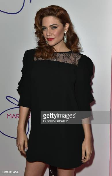 Angelica Celaya is seen at the introduction of the cast of 'Jenni Rivera Mariposa de Barrio' at Telemundo Studios on March 13 2017 in Miami Florida