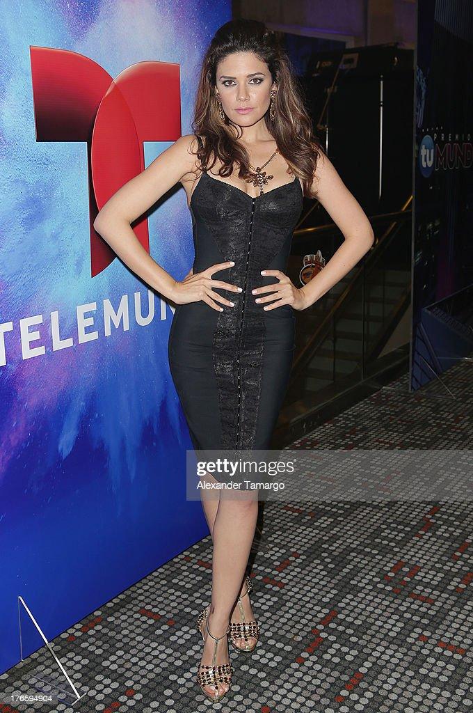 Angelica Celaya poses backstage at Telemundo's Premios Tu Mundo Awards at American Airlines Arena on August 15, 2013 in Miami, Florida.