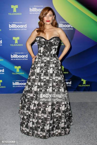Angelica Celaya poses in the press room during the Billboard Latin Music Awards at Watsco Center on April 27 2017 in Coral Gables Florida