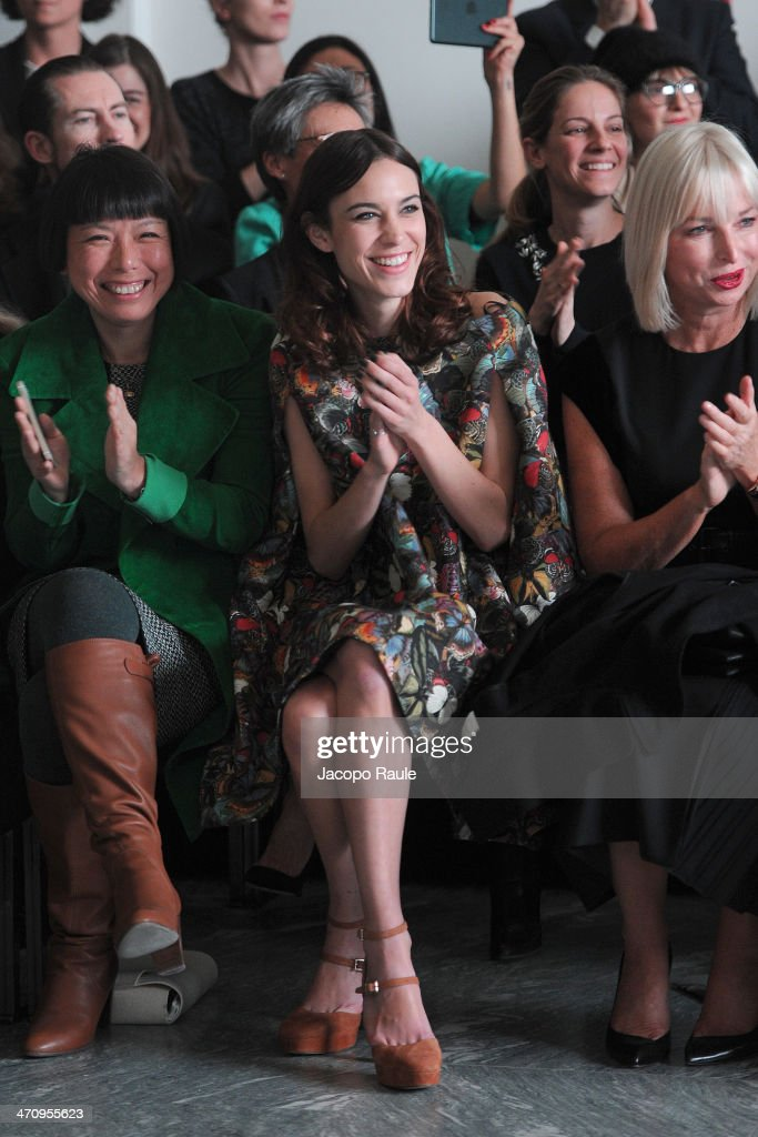 Angelica Cheung and Alexa Chung attend the International Woolmark Prize as part of Milan Fashion Week Womenswear Autumn/Winter 2014 on February 21...