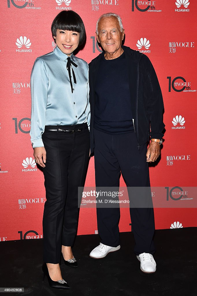 Angelica Cheung and Giorgio Armani attend Vogue China 10th Anniversary at Palazzo Reale on September 28 2015 in Milan Italy