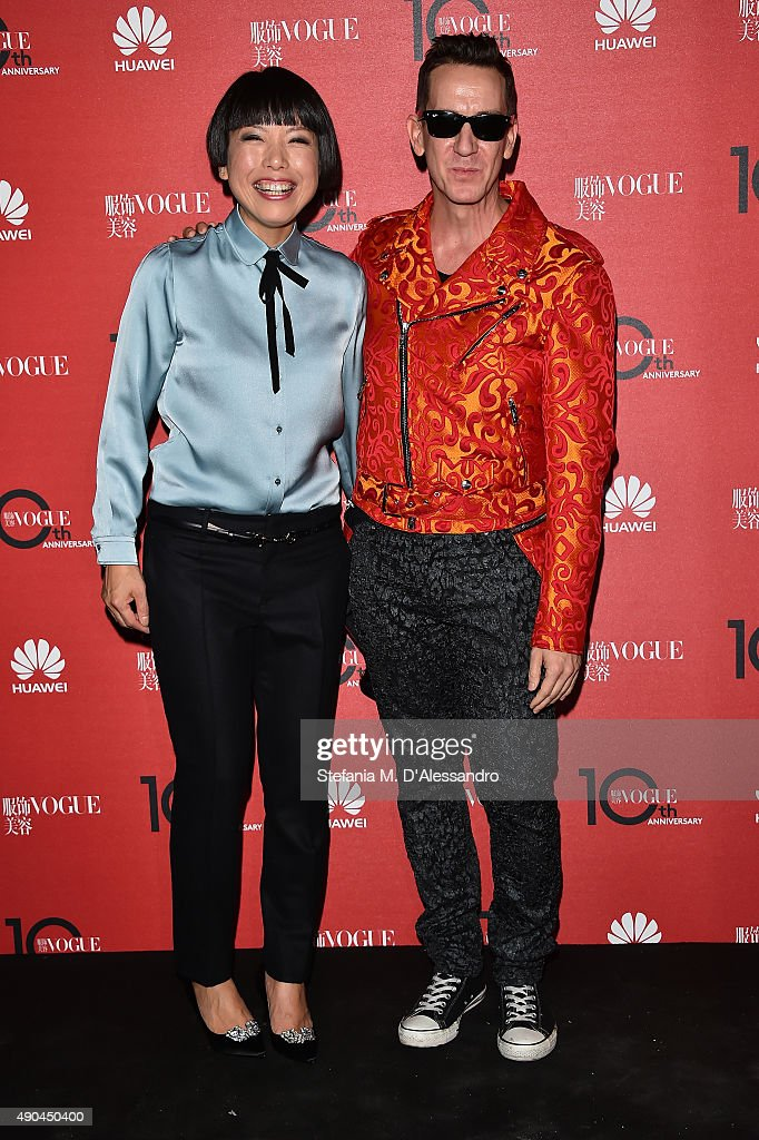 Angelica Cheung and Jeremy Scott attend Vogue China 10th Anniversary at Palazzo Reale on September 28 2015 in Milan Italy