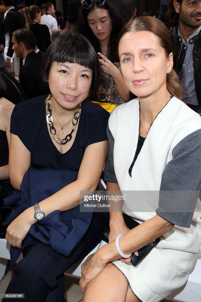 Angelica Cheung and Karla Otto attend Maison Martin Margiela show as part of the Paris Fashion Week Womenswear Spring/Summer 2014 on September 27...