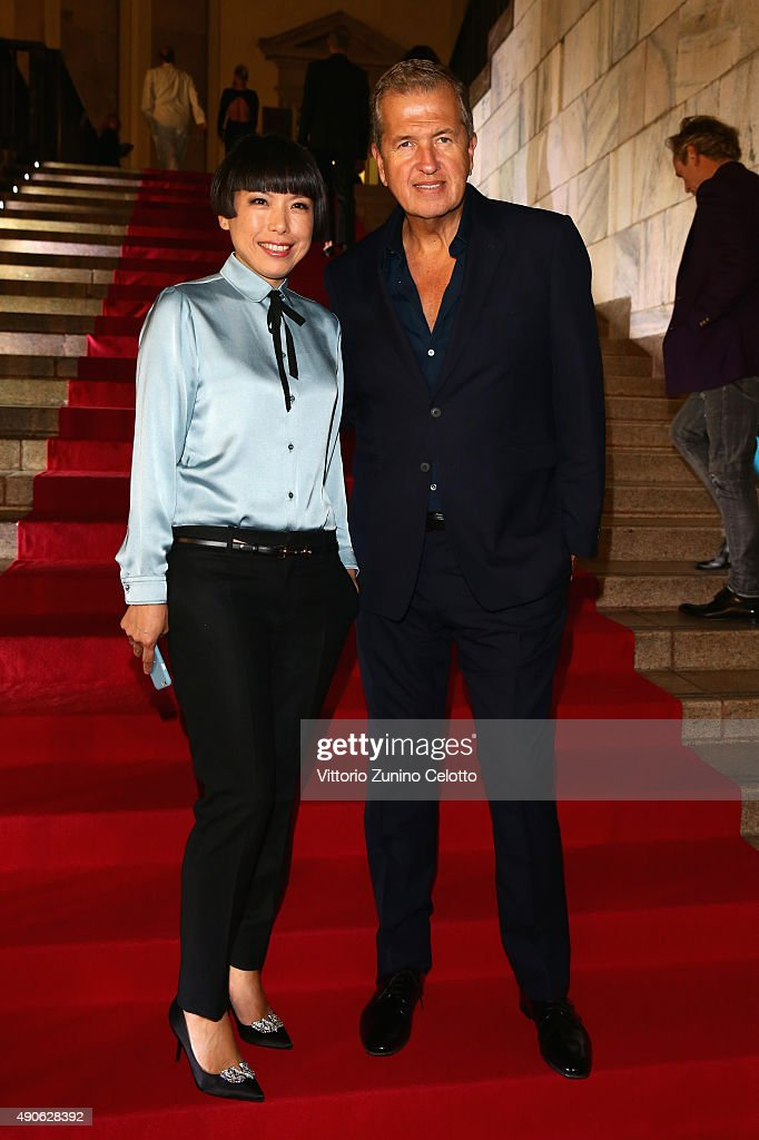 Angelica Cheung and Mario Testino attend Vogue China 10th Anniversary at Palazzo Reale on September 28 2015 in Milan Italy