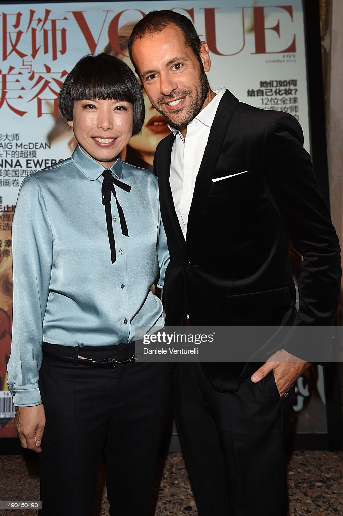 Angelica Cheung and Massimiliano Giornetti attend Vogue China 10th Anniversary at Palazzo Reale on September 28 2015 in Milan Italy