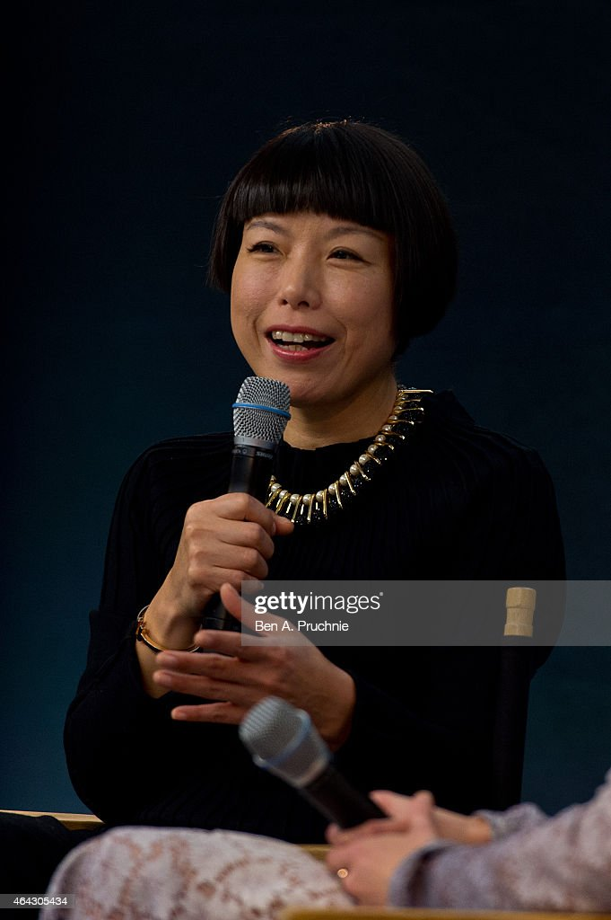 Angelica Cheung Editor in Chief of Vogue China speaks during the Fashion In Conversation event at Apple Store Regent Street on February 24 2015 in...