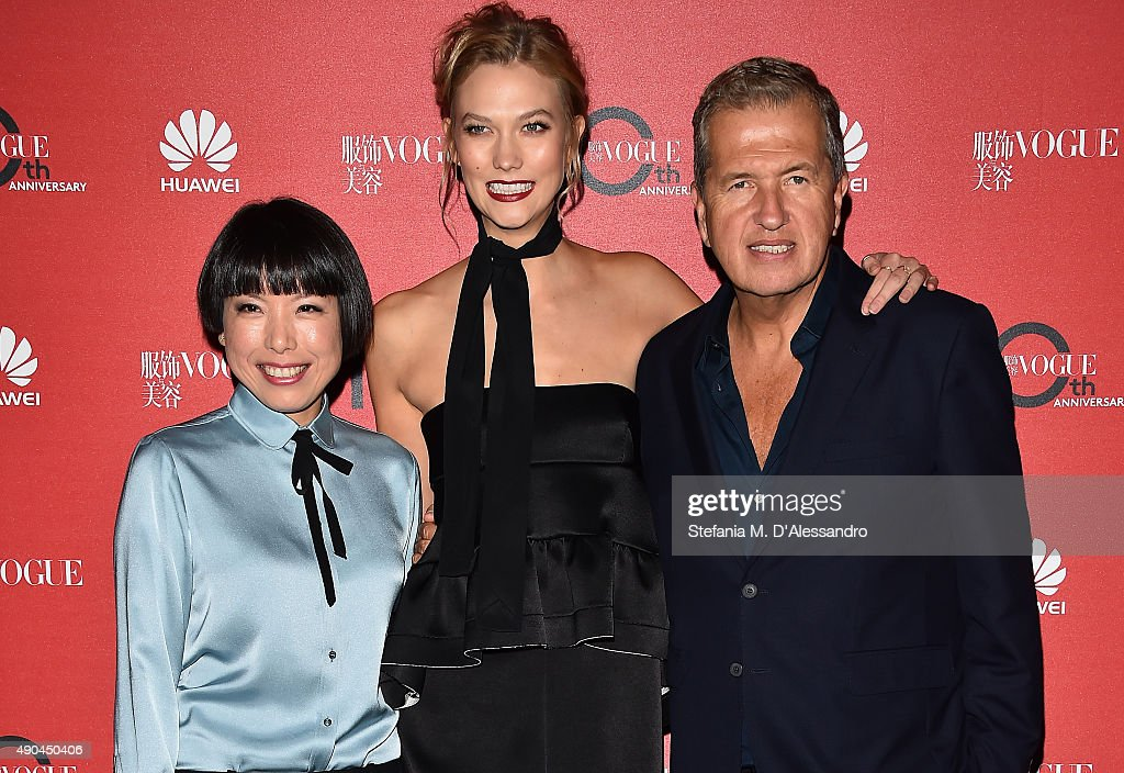 Angelica Cheung, Karlie Kloss and Mario Testino attend Vogue China 10th Anniversary at Palazzo Reale on September 28, 2015 in Milan, Italy.