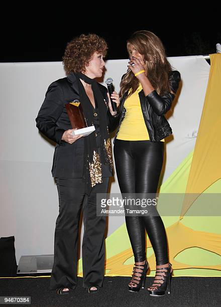 Angelica Maria and Lorena Rojas attend the Yellow Nights event to benefit the Lance Armstrong Foundation on December 16 2009 in Miami Florida