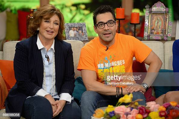 Angelica Maria and Omar Chaparro are seen on the set of 'Despierta America' to promote the film 'No Manches Frida' at Univision Studios on September...