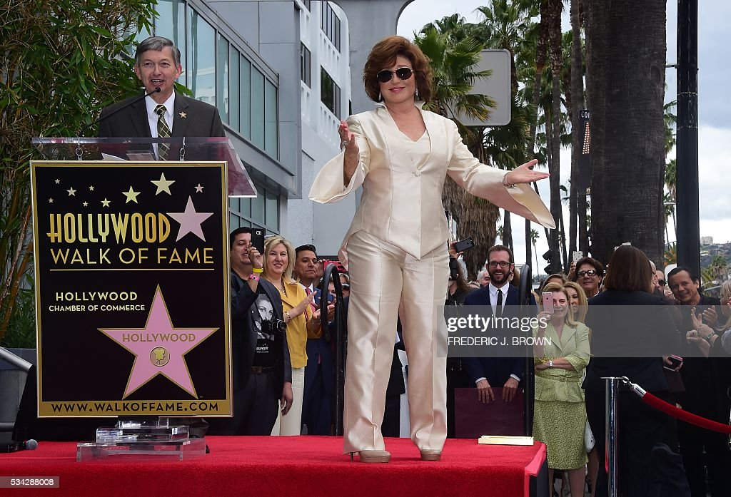 Angelica Maria is introduced by Hollywood Chamber of Commerce CEO Leron Gubler for her Hollywood Walk of Fame Star ceremony on May 25, 2016 in Hollywood, California. The actress, affectionately known in Latin America as 'Mexico's Sweetheart', is the recipient of the 2,582nd star on the Walk of Fame in the category of Live Performance/Theater. / AFP / FREDERIC