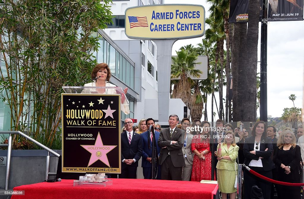 Angelica Maria speaks on during her Hollywood Walk of Fame Star ceremony on May 25, 2016 in Hollywood, California. The actress, affectionately known in Latin America as 'Mexico's Sweetheart', is the recipient of the 2,582nd star on the Walk of Fame in the category of Live Performance/Theater. / AFP / FREDERIC