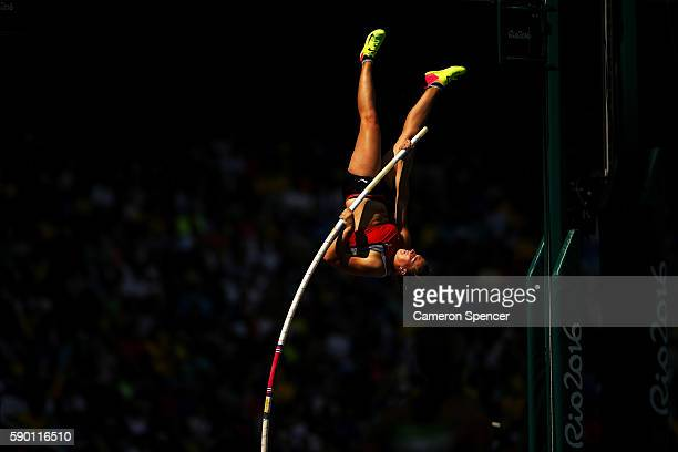 Angelica Moser of Switzerland competes in the Women's Pole Vault qualification on Day 11 of the Rio 2016 Olympic Games at the Olympic Stadium on...