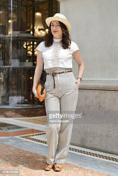 Angelica Pianarosa poses wearing Paul Smith pants and Barbisio hat on June 21 2015 in Milan Italy