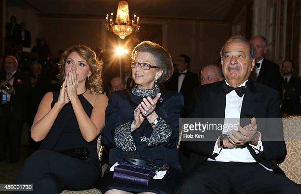 Angelica Rivera Elisabeth Schneier and Carlos Slim attend 2014 Appeal of Conscience Foundation Awards at The Waldorf=Astoria on September 23 2014 in...