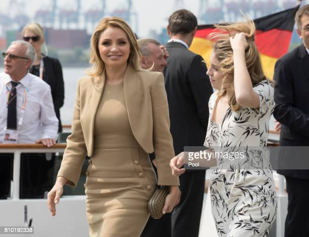 Angelica Rivera partner of Enrique Pena Nieto President of Mexico leaves the boat 'Diplomat' on the river Elbe with her daughter as they take part in...
