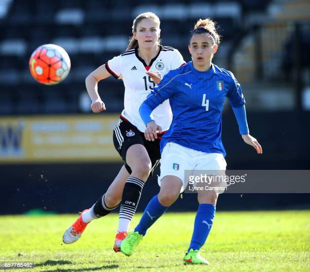 Angelica Soffia of Italy and Melissa Kiara Kossler of Germany during the Germany v Italy U17 Girl's Elite Round at Keys Park on March 25 2017 in...