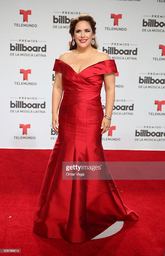 Angelica Vale poses during the red carpet of Billboard Latin Music Awards 2016 at Bank United Center on April 28, 2016 in Miami, United States.